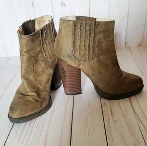 Zara Brown/Green Heavily Distressed Heel Booties